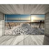 murando - Fototapete Ausblick auf Strand und Meer 400x280 cm - Vlies Tapete - Moderne Wanddeko - Design Tapete - Wandtapete - Wand Dekoration - Natur Landschaft Strand 3D See Sonne Sonnenaufgang c-C-0067-a-d