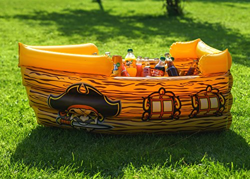 Kenley gonfiabile frigo bar porta bibite bottiglie - nave pirata galleggiante - spiaggia piscina mare party estivo portabevande - accessori e decorazioni per festa compleanno per bambini tema pirati