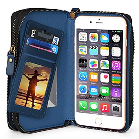 iPhone 6 Plus Wallet Case for Women / Man, TSCASE iPhone 7 Plus [Card Slots] Zipper Cash Storage Premium Flip Leather Wallet Case for iPhone 6s/6,iPhone 6/6s Plus, iPhone 7 Plus, iPhone 7, Samsung Galaxy S7,S7 Edge, LG G5 & Phone Size under 5.5 inch,