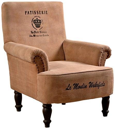 Sit Möbel 4743-30 Sessel Charleston, Shesham massiv mit Canvas bezogen und Bedruckt, 100% BW, Lichtechtheit Klasse 3, Scheuertouren 30,000, 70 x 80 x 90 cm