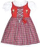 Kinder Dirndl mit Beutelchen 3 Teilig // 127-130 Classic (122-128, Rot)