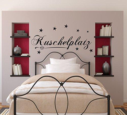 Wandtattoo Schlafzimmer Kuschelplatz 119x24cm + Sterne Wohnzimmer.Flur, Kinderzimmer Sticker