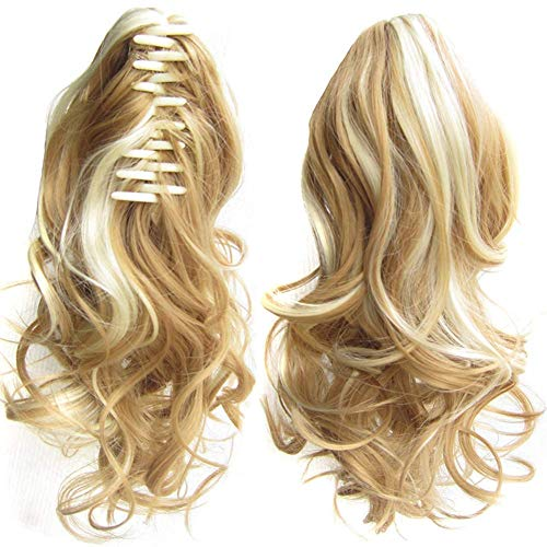 Bendicx Clips Gelockt Pferdeschwanz Haarverlängerung Damen Kralle auf Lang Gewellt Perücke Haar Teile Haar Gummi Haargummi Haargummi Hochsteckfrisur - J