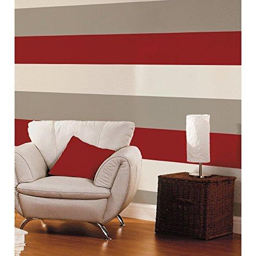 Red / Grey / Cream   40910   Olivia Stripe   Wallpaper