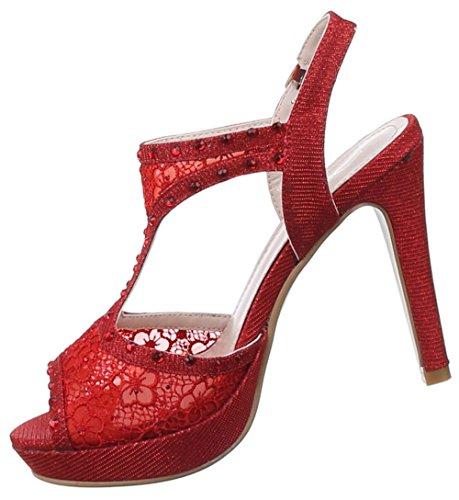 Damen Sandaletten Schuhe High Heels Stiletto Abendschuhe Business Club Pumps schwarz rot gold silber 36 37 38 39 40 41 Rot