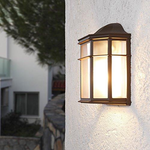 Wandleuchte 25,2 cm | Wand-Laterne rustikaler Landhaus-Stil | antike Außenleuchte | Terrassenbeleuchtung in klassischer Form | braune Außenwandleuchte E27 + Wandlampe IP23 + dimmbar (Glühlampe Fertig Wandleuchte)