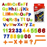 SIMUER 80PCS Learning Magnetic Letters and Numbers, Alphabet Refrigerator Magnets Kids Learning Educational Toys Includes Uppercase, Lowercase and Math Symbols