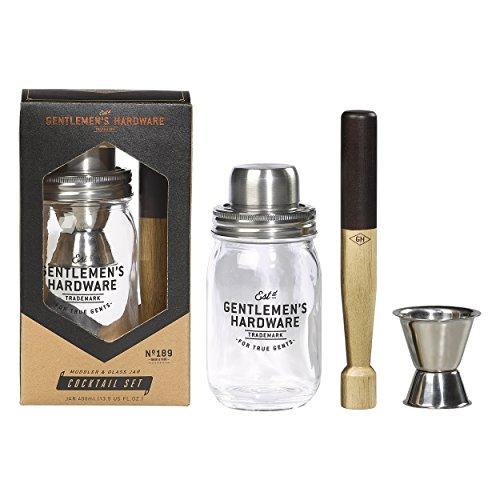 Gentlemen's Hardware Cocktail-Set mit Stößel und Glas -