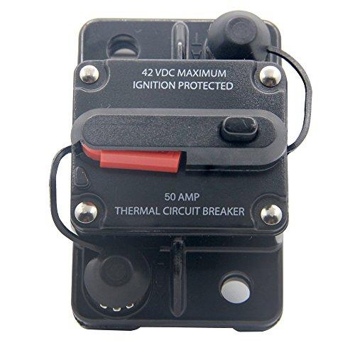 RKURCK 12V- 42VDC 100A Manueller Reset-Schutzschalter, Sicherungshalter für Car Automotive Marine Audio 50 Amp 12 Car-audio