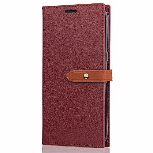 Business Style Mixed Farben Slim Design PU Ledertasche Brieftasche Stand Case [Shockproof] mit Niet Echtes Leder Gürtel & Kickstand & Card Slots für OnePlus 3 & 3T ( Color : Black ) Wine