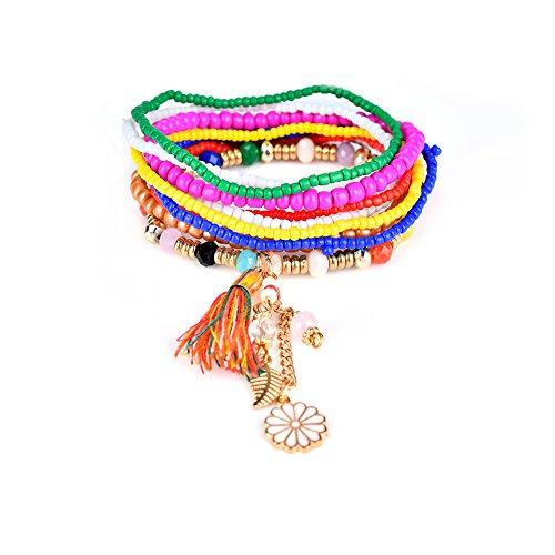 Lureme Bohemien Perlen Blütenblatt Quaste Charms Multi Strang Textur Stapelbar Armband Set-Bunt (Perlen Multi Armband)