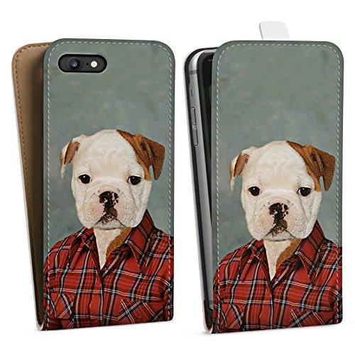 Apple iPhone X Silikon Hülle Case Schutzhülle Hund Dog Bulldogge Downflip Tasche weiß