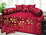 #5: Milan Polycotton and Silk 8 Piece Diwan Set, Maroon and Gold