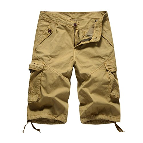 MOIKA Herren Cargoshorts, Sommer Herren Jogginghose Basic Cargoshorts im Klassischen Stil Bermudas Sportshorts Sweatshorts Alltägliche Shorts Casual Shorts(L,Khaki)