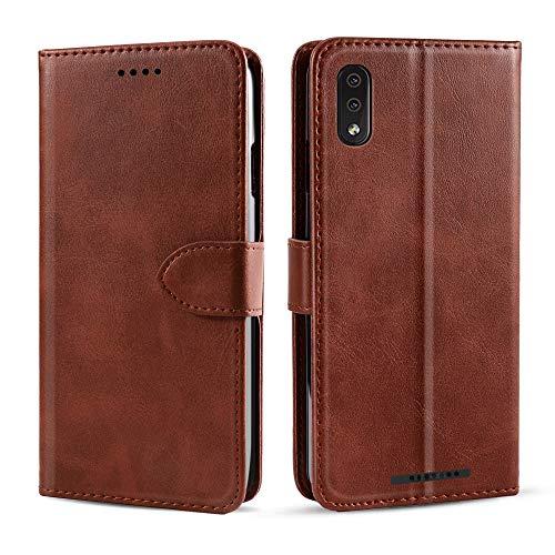 Banath Handy Hülle für Wiko Y80 PU Leder Flip Wallet Cover Stand Case Card Slot Leder Karteneinschub Magnetverschluß Kratzfestes (Braun) Flip Stand