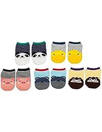 Affe 5pares dibujos animados Calcetines de bebé de algodón para recién nacido niños niños y niñas