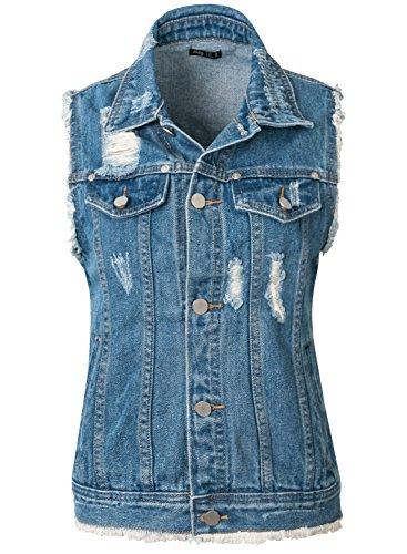 ililily Damen klassischer Stil abgenutztes Aussehen gewaschene Denim Raw-Hem ärmellose Kleidung Weste Jacke , Light Blue Denim, US-Large (Raw Kleidung Blue)