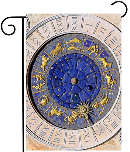 Antique Zodiac Clock at San Marco Square in Venice Astrology Garden Yard Flag Double Sided Polyester Welcome House Flag Banners for Patio Lawn Outdoor Home Decor Size: 12.5-inches W X 18-inches H White Square Clock