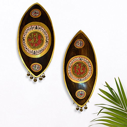 ExclusiveLane Dhokra And Warli Handpainted Bell Wall Hanging Set