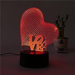 Idea Regalo - ledmomo 3d cuore forme luci notturne 7colori cambia LED lampada Touch USB lampada da tavolo per coppia romantica notte san valentino amante Camera da letto regalo (Amore Cuore)
