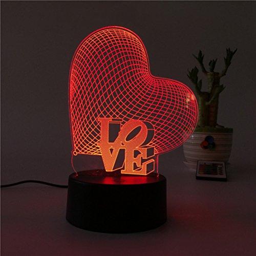 Ledmomo 3d cuore forme luci notturne 7colori cambia led lampada touch usb lampada da tavolo per coppia romantica notte san valentino amante camera da letto regalo (amore cuore)
