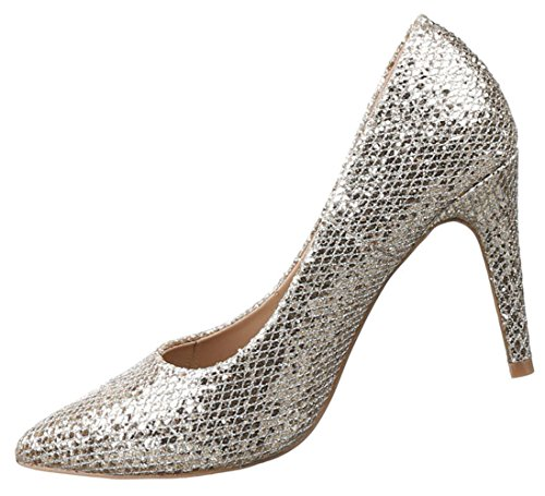 Damen Pumps Schuhe High Heels Stiletto Abendschuhe Schwarz Gold Silber 36-40 Gold