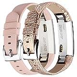 Vancle Für Fitbit Alta Alta HR Ersatz Armband, Leder Uhrenarmband Anpassbare Bequemen Fitbit Alta Ersatz Armbänder mit Edelstahl Schnalle (Kein Tracker) (2-Rosa & Rosa Gold)