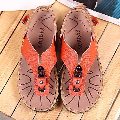 Slippers & amp da uomo;Casual di pelle Primavera Estate Luce Soles Altri Nero Bianco Arancione Altro sandali US7.5 / EU39 / UK6.5 / CN40