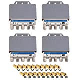 4x DiseqC Schalter Switch 4/1 mit Wetterschutzgehäuse HB-DIGITAL 4x SAT LNB 1 x Teilnehmer / Receiver für Full HDTV 3D 4K UHD + 20 x Vergoldete F-Stecker Vergoldet