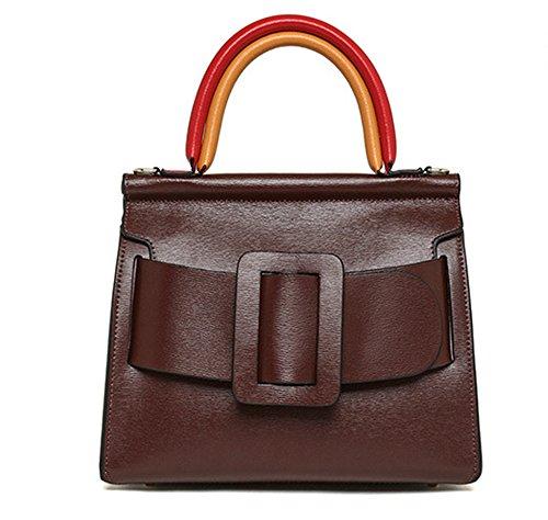 Xinmaoyuan Handtaschen der Frauen Schulter Rindsleder Handtaschen einfach Mode Gürtelschnalle Farbe Quadrat, Blau Wein rot