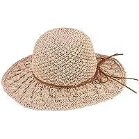 Meaeo Crochet Fatti A Mano Le Donne Cappelli Estivi Larga Tesa Cappello di  Paglia con Bowknot a8cec8a0ed6e