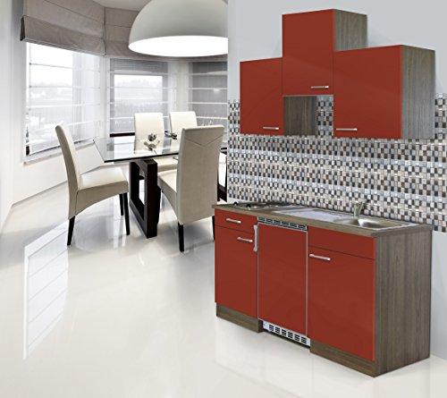 respekta Einbau Mini Single Küche Küchenblock 150 cm Eiche York Nachbildung Rot