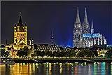 XXL Leinwandbild, Köln Kölner Dom mit Sankt Martin, EIN Exklusives Fineart Bild als hochwertige Wanddeko Wandbild in Galerie Qualität Canvas© Künstler Leinwand 105 x 70cm