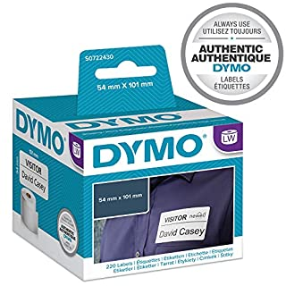 Dymo 54 mm x 101 mm LW Large Shipping Labels/Name Badges, Roll of 220 Easy-Peel Labels, Self-Adhesive, for LabelWriter Label Makers, Authentic