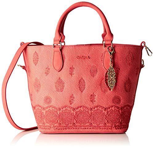 Desigual Bag Paola Florida Women - Borsette da polso Donna, Rosa (Rosa Plateado), 16.5x25.8x26.2 cm (B x H T)