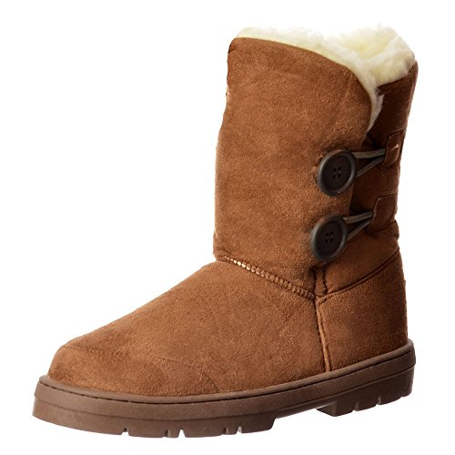 Onlineshoe Women's Double 2 Button Synthetic Fur Lined Flat Ankle Winter Boot - Grey, Chestnut, Brown, Black Castagno