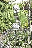 Exklusive Gartenstange Gartendeko Gartenskulptur Wave aus Edelstahl mit 4 Kugeln und Stahlstreifen Höhe 160 cm