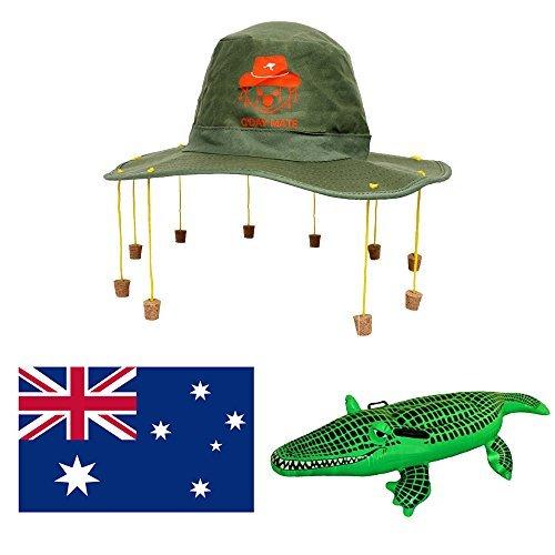 (AUSTRALIEN-TAG MODISCHES KOSTÜM-SET GROß AUSSIE FLAGGE + AUSTRALISCHER KORK HUT MIT KOALA AUFDRUCK + AUFBLASBAR KROKODIL OZ KOSTÜM AUSSIE DUNDEE)