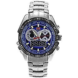 Leopard Shop TVG 568 Digital Quartz Double Movt Men Watch Luminous LED Display Military Wristwatch Day Alarm Chronograph Blue