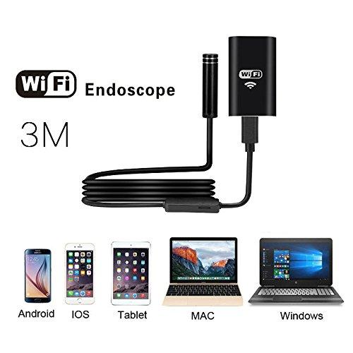 Endoscopio wireless usb impermeabile tkstar wi-fi endoscopio wireless universale fotocamera endoscopio di ispezione con 8luci led per android/iphone/ios/windows, 3m, nero, 1