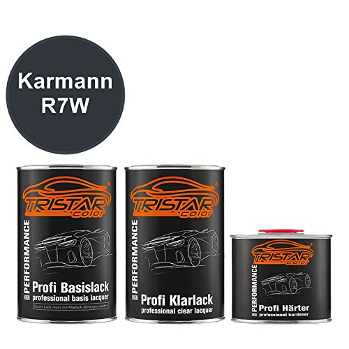Preisvergleich Produktbild TRISTARcolor Autolack Set Dose spritzfertig Karmann R7W Mazeppa Grey Metallic / Wizzard Grey Perl Basislack + 2K Klarlack 2, 5L