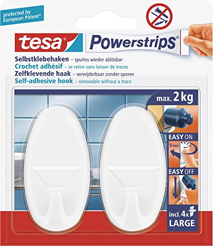 Tesa Powerstrips- Haken, Weiss Oval, Set: 2 Haken, 4 Strips