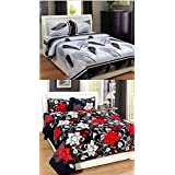 Combo Pack Of Double Bedsheet, Combo Set Of 2 Bedsheet And 4 Pillow Covers!Made From Premium Glace Cotton With High Digital Printing -Size(90 By 90 Inchs) By RS Quality