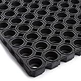Technikplaza Safety - Schwarze Ringmatte - Schwer - 1 Stück - Fußmatte - Schmutzfangmatte - Antirutschmatte - Gummimatten - Fallschutzmatten - Fußabtreter - Gummi Fußmatten - Wabenmatten
