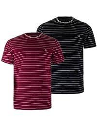 Fred Perry Hombres Piqué rayas camiseta Marina De Guerra
