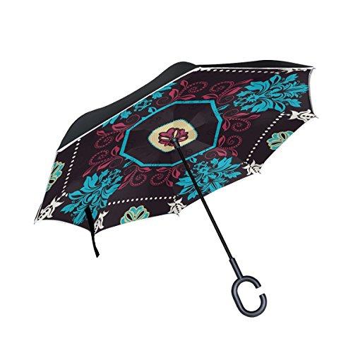 isaoa Große Schirm Regenschirm Winddicht Doppelschichtige Konstruktion seitenverkehrt Faltbarer Regenschirm für Auto Regen Außeneinsatz, C-förmigem Henkel Regenschirm geometrischen Fliesen Schwarz Regenschirm für Frauen und Me