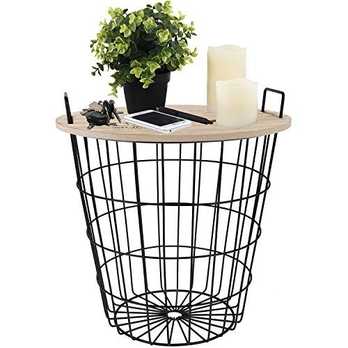 Beistelltisch rund 38xH40cm, schwarzer Metallkorb mit abnehmbarer Holzplatte - Aufbewahrungskorb Couchtisch Wohnzimmertisch Blumentisch Loungetisch (Telefon-beistelltisch)