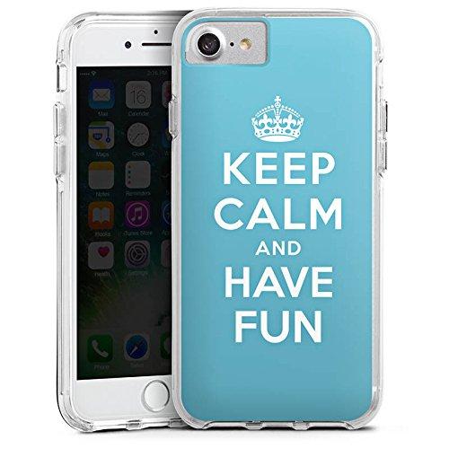 Apple iPhone 7 Plus Bumper Hülle Bumper Case Glitzer Hülle Keep Calm Fun Phrase Bumper Case transparent