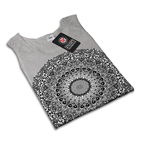 indisch Mandala Muster keramisch Spaß Damen S-2XL Muskelshirt | Wellcoda Grau