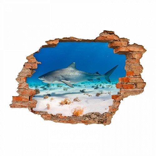 nikima 100 Wandtattoo Hai Wasser Sand - Loch in der Wand - in 6 Größen - Wunderschöne Kinderzimmer Sticker und Aufkleber Coole Wanddeko Wandbild Junge Mädchen Größe 1000 x 700 mm